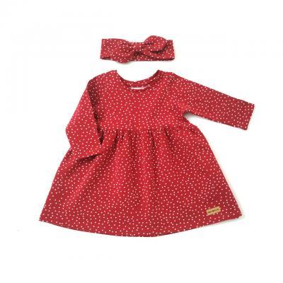 Šaty bodkované HAPITIME - červené dlhý rukáv