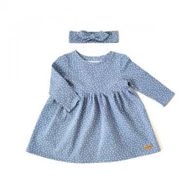 Šaty bodkované HAPITIME - modré dlhý rukáv