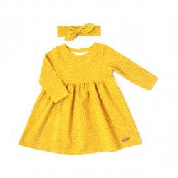 Šaty bodkované HAPITIME - žlté dlhý rukáv