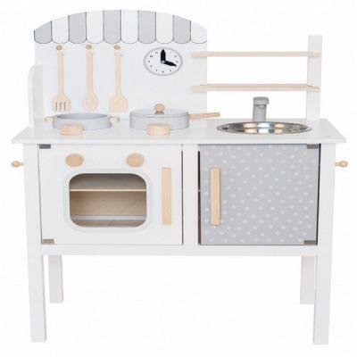 Jabadabado Drevená kuchynka s hrncom a panvicou – biela