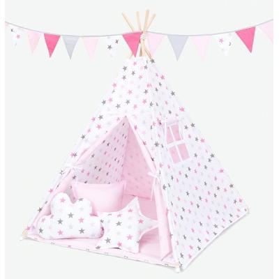 Stan pre deti teepee - Hviezdy šedé a ružové/svetlo ružový